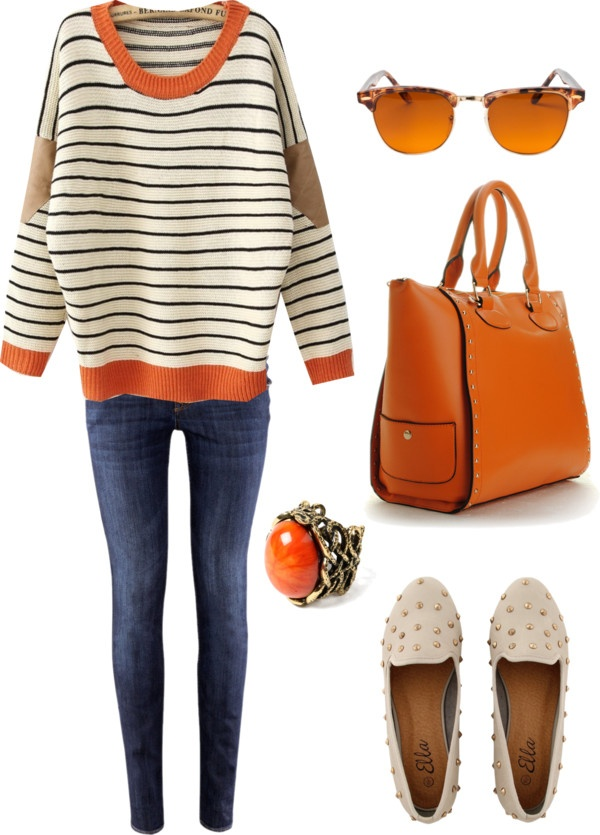 """Great shopping outfit, big bag for all your stuff - """"VintageOrange"""" by elisamaffei ❤ liked on Polyvore"""
