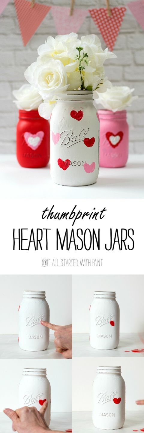 A child's thumbprint makes a red heart on these painted Valentine's day mason jars - a lovely gift for Mom or Grandma