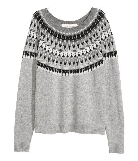 Check this out! Soft, jacquard-knit sweater with alpaca wool content. Long raglan sleeves and ribbing at neckline, cuffs, and hem. Slightly wider style. - Visit hm.com to see more.