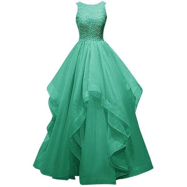 Dresstells? Long Prom Dress Asymmetric Bridesmaid Dress Beaded Organza... ($115) ❤ liked on Polyvore featuring dresses, gowns, long black dress, black prom dresses, black gown, black evening gowns and long evening dresses