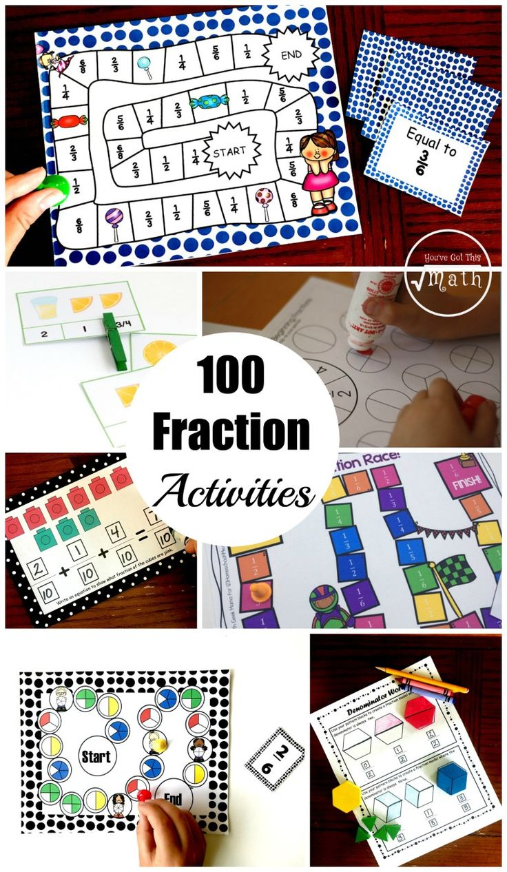 100 Fraction Activities To Help Your Students Master Fractions...includes introducing fractions, equivalent fractions, comparing fractions, adding and subtracting fractions, multiplying fractions and dividing fractions