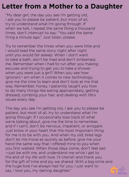 As our parents age, sometimes it's difficult to have patience. This beautiful letter from a mother to a daughter puts things in perspective.