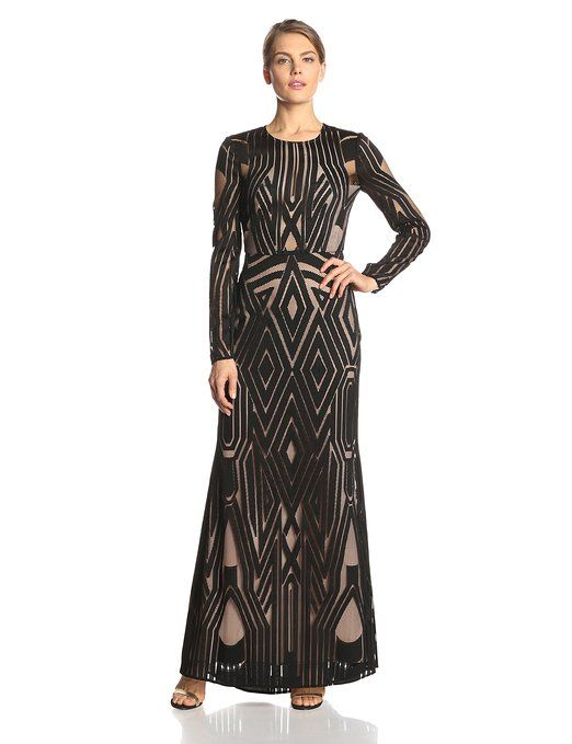 Women's Veira Long-Sleeve Engineered-Lace Gown
