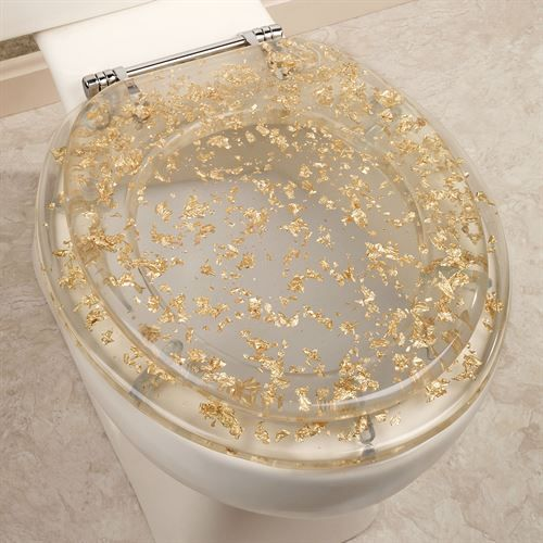Gold Foil Toilet Seat Clear
