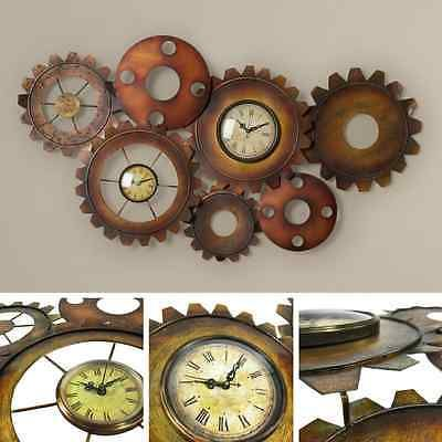 Large Vintage Wall Clock Retro Antique Home Decor Steampunk Metal Gear Art Room