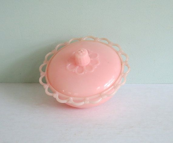 Pretty in Pink Vintage Plastic Dresser Jar with Lid by Tparty, $14.90