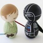 Star Wars Luke and Darth Vader Kokeshi dolls.  #kokeshi #dolls #starwars #diy
