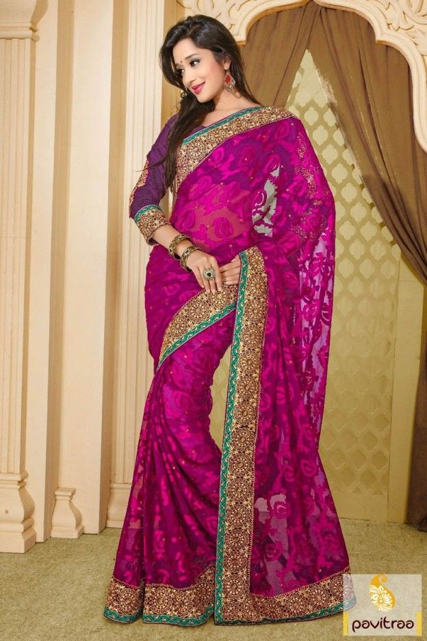 Pink Barsso fabric party wear saree