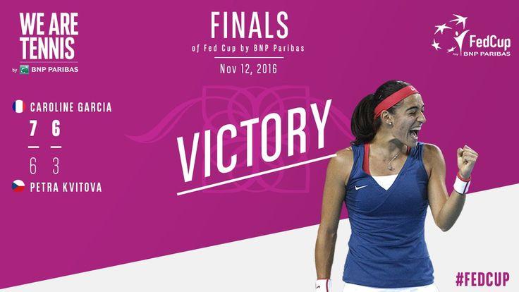 Via We Are Tennis: Superb Caroline #Garcia who dominated Petra #Kvitova 7-6 6-3 to tie at 1-1 for France vs Czech Republic! #FedCupFinal #FRACZE