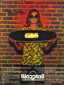 Stacy Peralta in the ad for the revolutionary Gordon  Smith Warptail.