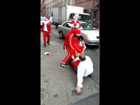 12 Days of Christmas. 12 Drunk Santas Fighting. Santacon NYC 2012 - YouTube