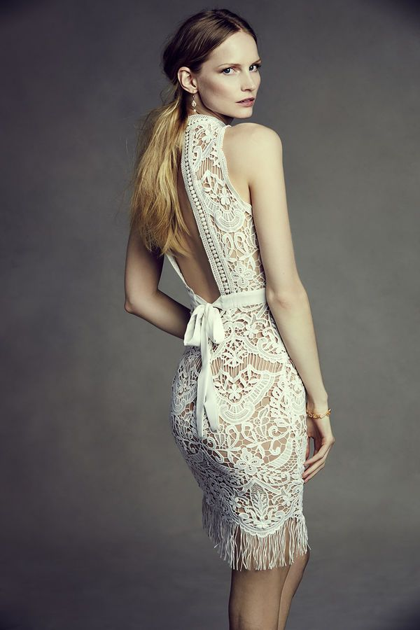 BHLDN Bailey short wedding dress with fringe, sheer lace and a statement back.