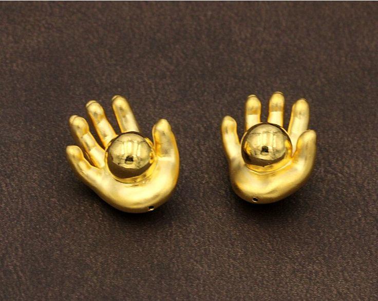 1PCS Pure 999 24K Yellow Gold Pendant / 3D New Design Hand Palm Bead Pendant