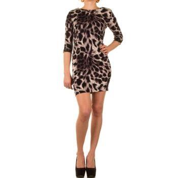 Rochie casual, cu imprimeu leopard si maneca trei sferturi - Rochie casual, cu croiala dreapta, scurta, cu maneca trei sferturi si imprimeu leopard. Colectia Rochii casual de la  www.rochii-ieftine.net