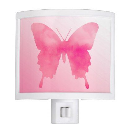 Watercolor Butterfly - Fuchsia and Pastel Pink Night Light - watercolor gifts style unique ideas diy