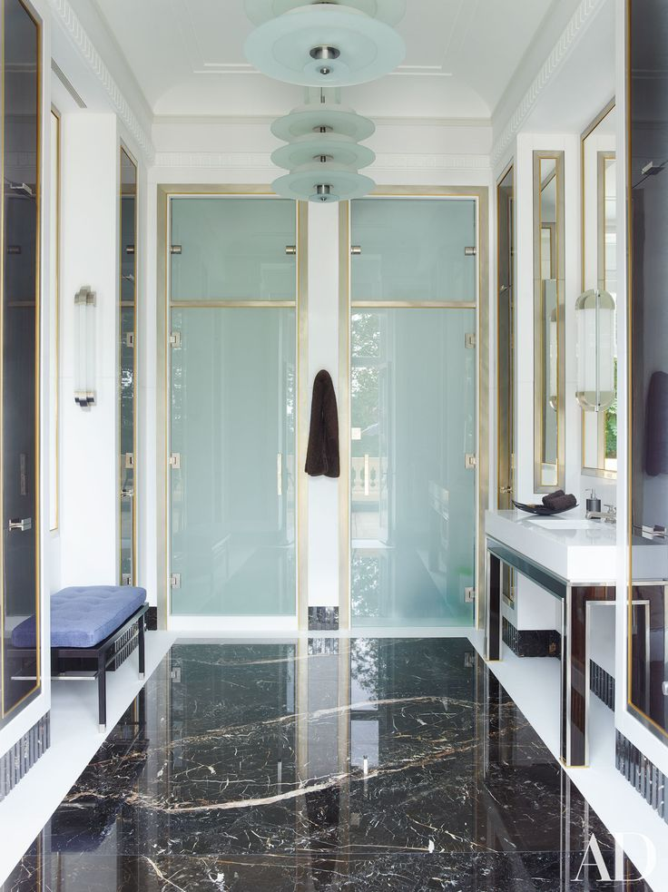 Gentleman's bathroom in a historic mansion in London, UK designed by Timothy Haynes and Kevin Roberts