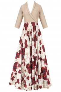 Beige Gold Collared Crop Top with Red Roses Printed Skirt