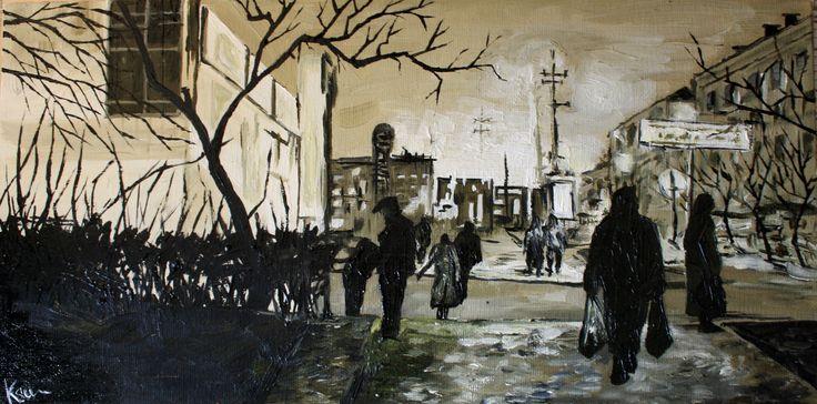 oil paint Leningrad  black white