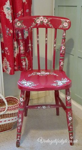 Red folk art floral painted chair - you could create something similar using our Series 1 Starter kit and vintage rose kits. Kits available from www.folkit.co