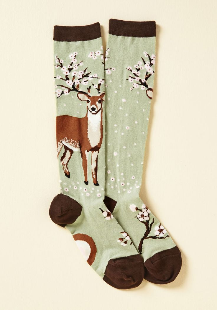 So Deer to Me Socks - Green, Brown, Print with Animals, Print, Casual, Critters…