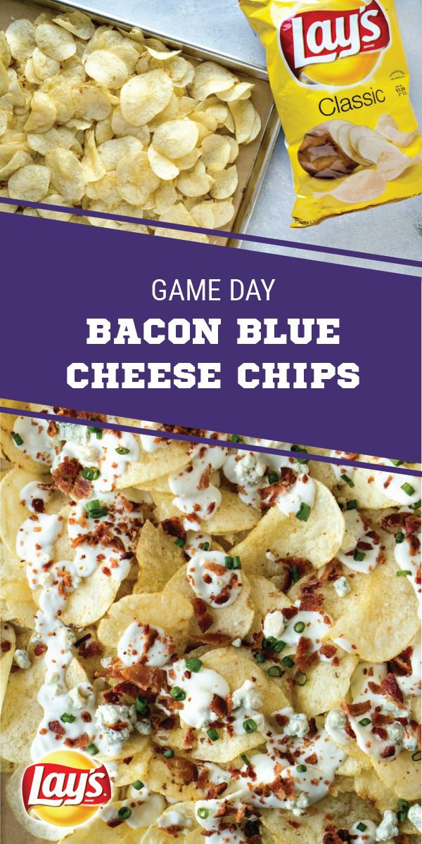 Sponsored by Frito-Lay. What's the game-winning secret to these Bacon Blue Cheese Chips? LAY'S® Classic Potato Chips of course! Here to help you score big at your Super Bowl LII party, this appetizer idea is packed with blue cheese sauce, bacon, and scallions and is sure to keep the fans cheering. Your homegating menu will never be the same thanks to this shareable snack recipe.