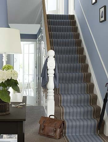 Stair Runner Blue And Brown Are A Warming Colour Scheme