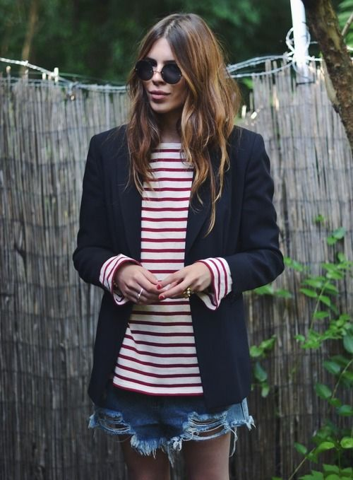 stripes forever: Jean Shorts, Summer Fashion, Red Stripes, Style, Maja Wyh, Jeans Shorts, Denim Shorts, Summer Wardrobe, Black Blazers