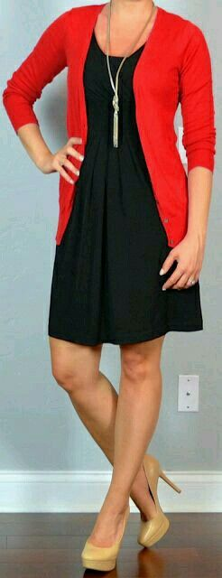 Black dress with red cardigan