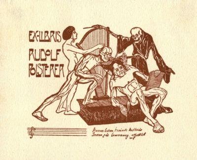 Bookplate by Tibor Bottik for  Rudolf Polsterer, 1906