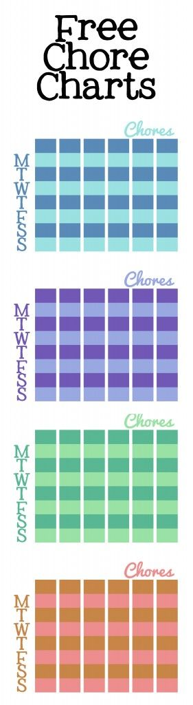 Chore Chart Free Printable-4 colors to choose from