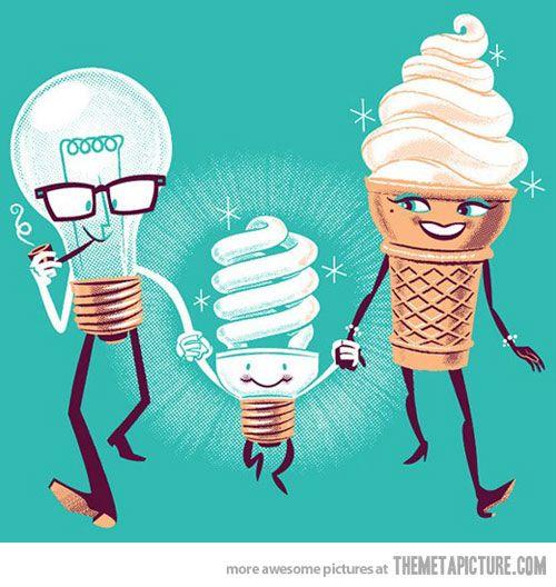 It makes perfect sense…Families Humor, Funny Humor, Illustration, Funny Cartoons, Funny Stuff, Science Humor, Bright Lights, Funnystuff, Ice Cream Cones