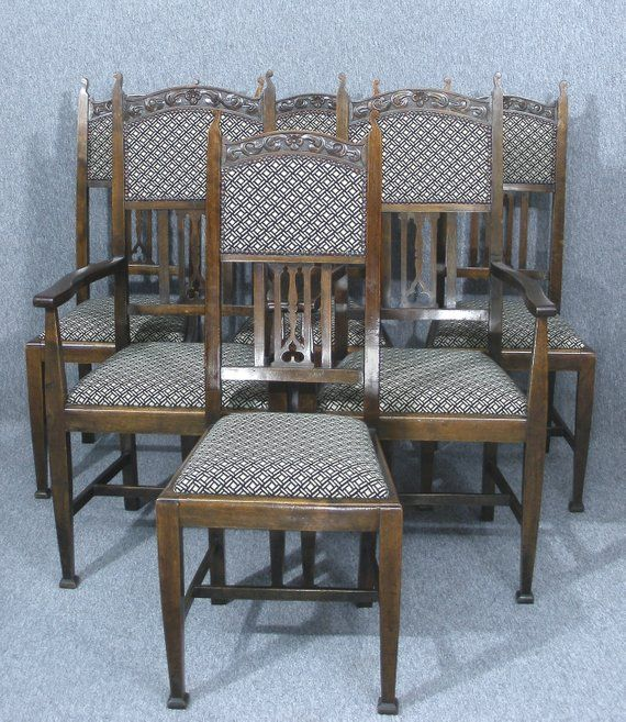 Set Of 6 Art Nouveau Dining Chairs Arts And Crafts Dining Chairs