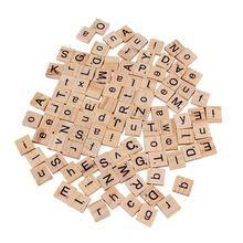 Nieuwe 100 Stks Burlywood Kleur Houten Alfabet Scrabble Tegels Zwart Letters & Numbers Voor Ambachten Hout(China (Mainland))