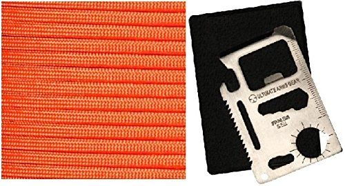 Ultimate Arms Gear International Orange 50 Feet Military GI Nylon Type III Specification 550 lbs 7 Strand Paracord Survival Tactical Cord Rope USA MADE  11 Multi Tool Card >>> Click image to review more details.(This is an Amazon affiliate link and I receive a commission for the sales)