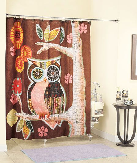 I love this owl shower curtain... I think I must have this!