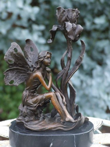LOVELY-DETAILED-FAIRY-CANDLESTICK-PURE-HOTCAST-BRONZE-STATUE-SIGNED-NO-RESERVE