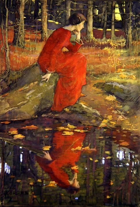 Elizabeth Adela Stanhope Forbes 1859-1912 Canada. 'The Leaf' (1897) acuarela sobre papel. 1897. Trabajó con aceite, acuarela, pastel y grabados de los niños, paisajes y escenas de pesca. Escuela Newlyn.