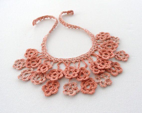 Crochet Necklace Linen Necklace Flowers by CraftsbySigita