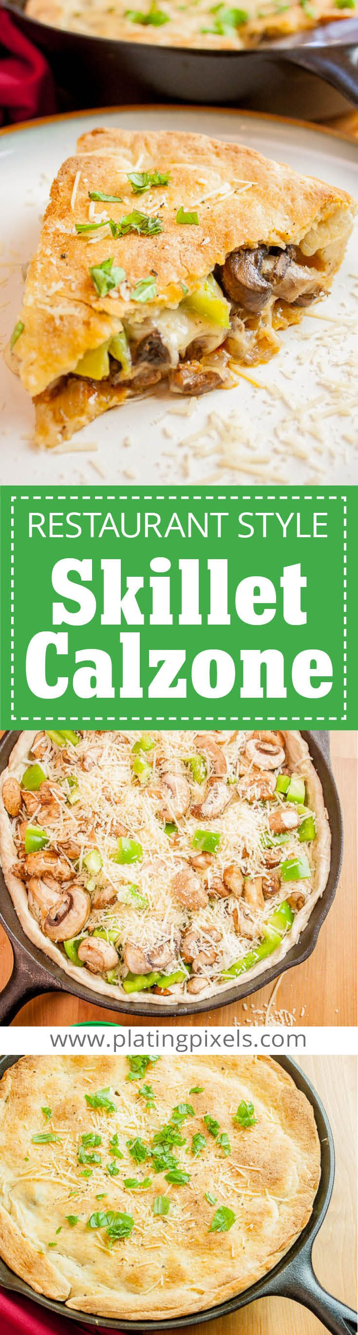Easy Restaurant Style Skillet Calzone recipe, made at home. By Plating Pixels. Meaty and gooey cheese center with crisp veggies in chewy, flaky and buttery pizza dough shell. Homemade calzone with beef, onion, green bell peppers, mozzarella and parmesean cheese. - www.platingpixels.com