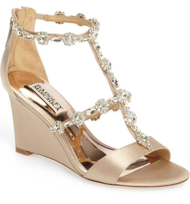 Main Image - Badgley Mischka Tabby Embellished Wedge Sandal (Women)