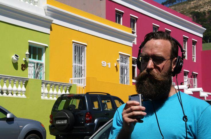 Artist Gareth Bate recording for the Art Untangled podcast in the Bo-Kaap neighbourhood of Cape Town South Africa. #artuntangled, #garethbate, #capetown, #southafrica, #beard