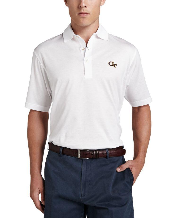 Georgia Tech Gameday College Shirt Polo, White, Men's, Size: XX-LARGE - Peter Millar