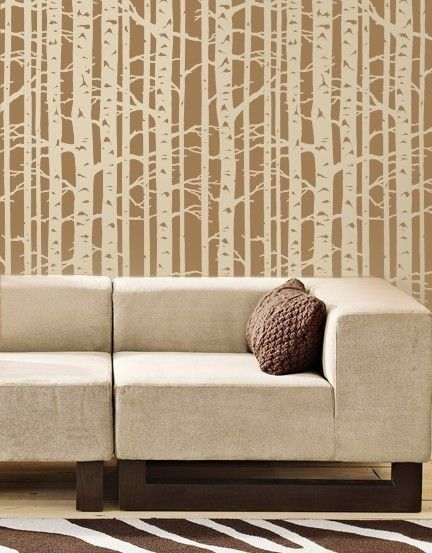 Wall Stencil Birch Forest - Allover wall pattern - Reusable stencil for DIY decor. $64.95, via Etsy.