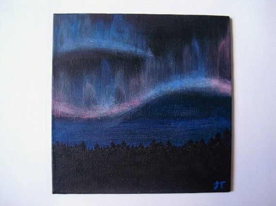 2. Northern lightning acrylic painting on 6x6 canvas.