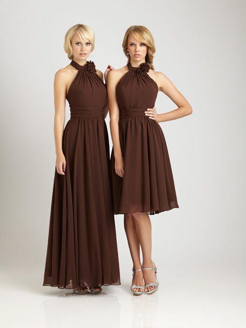 2012 Allure Bridesmaids - Chocolate Gathered Chiffon Floral Halter Short Bridesmaid Dress - 2 - 28
