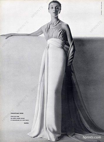 Christian Dior 1953 Evening Gown, Photo Guy Arsac, Hurel