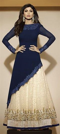 Long Lehenga Long Sleeve gown, ideal for an indian wedding reception gown; love the navy color!