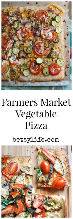 The best local pizza for dinner! This Farmers Market Vegetable Pizza Recipe is healthy, seasonal and family friendly.