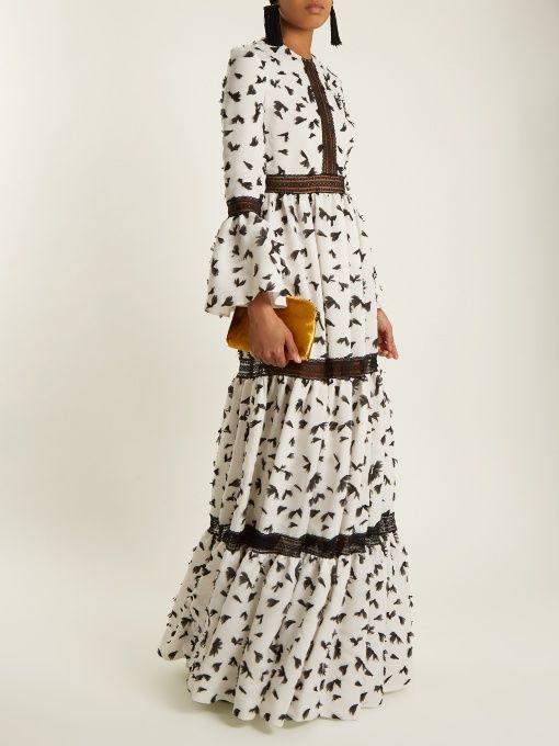 HUISHAN ZHANG Pouget petal-appliqué twill dress