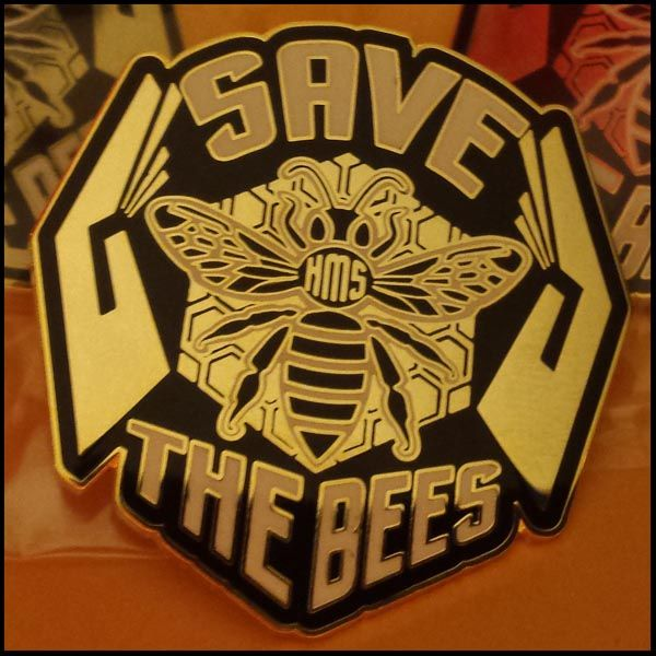 Save the bees lapel pin from heart mind and soul screen printing in portland oregon
